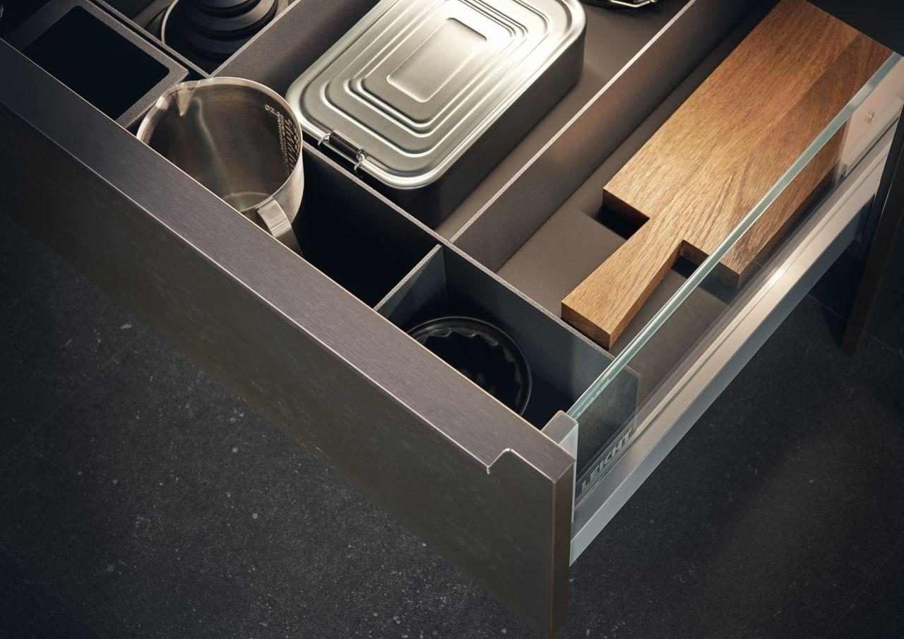 Kitchen slide out drawer with organizer